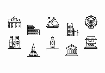 20 Black and White Famous Landmarks Icons