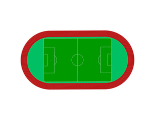 Football field. Racetrack.Vector illustration.Top view.