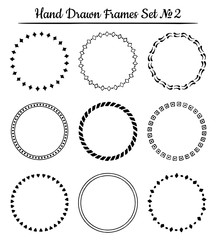 Set of round hand drawn frames. Vector illustration.