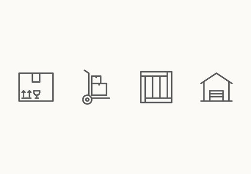 25 Minimalist Shipping and Handling Icons