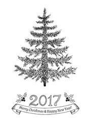 Hand drawn greeting card with christmas tree. Vector illustration.