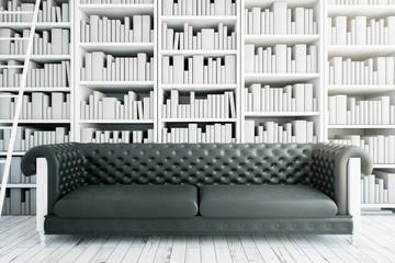 Black sofa in library