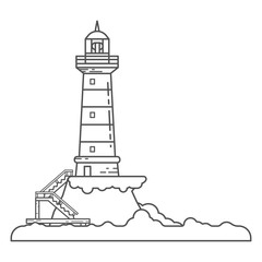 Lighthouse on island coast icon in outline cartoon styles