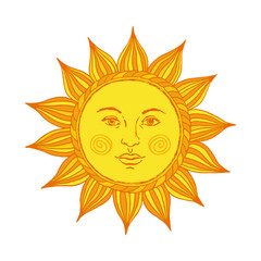 Hand drawn sun with face and eyes. Vector illustration.