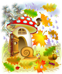 Illustration of autumn in fairyland forest, vector cartoon image.