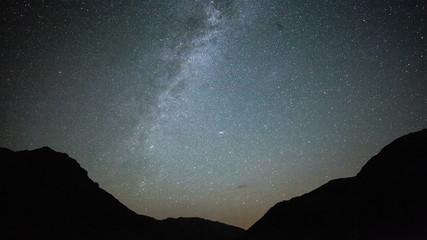 Star Trails Night Sky Cosmos Galaxy Time-lapse over plateau on Kackar Mountains, Turkey.