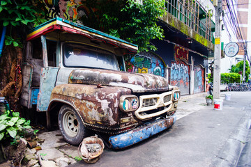old truck at front of cafe in chiangrai thailand