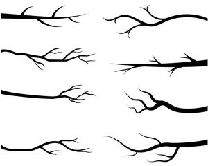 Bare tree branch silhouettes, Black branches without leaves