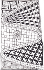 Zentangle hand drawn abstract mountain road with variety of tangles. Zen tangle style art.