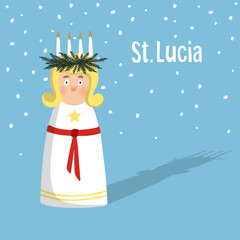 Little blonde girl with wreath and candle crown, Saint Lucia. Swedish Christmas tradition, vector illustration background.