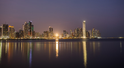 Panama City, city center skyline and Bay of Panama, Panama, Central America.