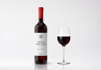 Wine Bottle and Glass Mockup