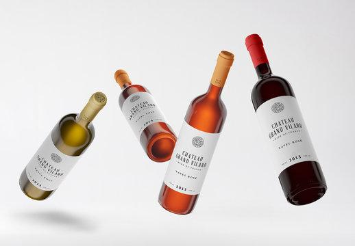 Four Wine Bottles Mockup