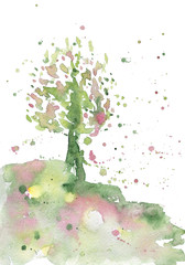 Abstract season illustration of spring. Colorful abstract watercolor tree. Beautiful background for calendars and other seasonal things.