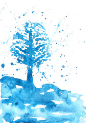 Abstract season illustration of winter. Colorful abstract watercolor tree. Beautiful background for calendars and other seasonal things.