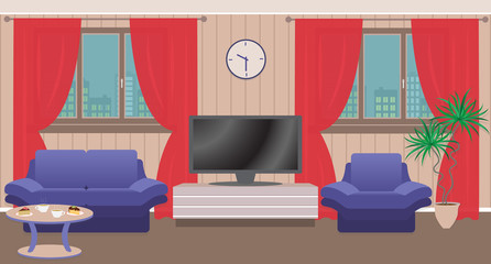 Living room interior with furniture, TV, window. Bright vector illustration in flat style