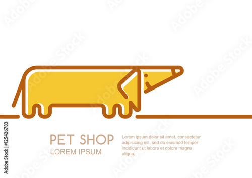 Vector logo, label or emblem design template with linear style friendly  dachshund dog. Creative