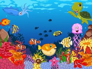 funny sea animals cartoon with sea life background