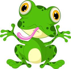 funny frog cartoon sitting