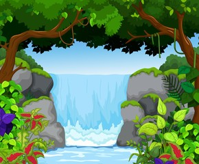 waterfall with landscape view background