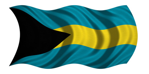 Flag of Bahamas wavy on white, fabric texture