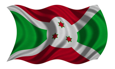 Flag of Burundi wavy on white, fabric texture