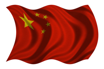 Flag of China wavy on white, fabric texture
