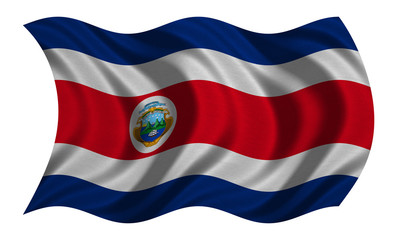 Flag of Costa Rica wavy on white, fabric texture