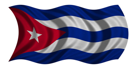 Flag of Cuba wavy on white, fabric texture