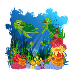 funny three turtle cartoon with beauty corals underwater view background