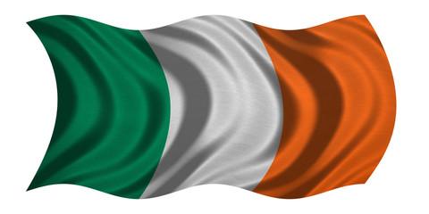 Flag of Ireland wavy on white, fabric texture