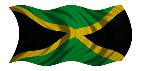 Flag of Jamaica wavy on white, fabric texture