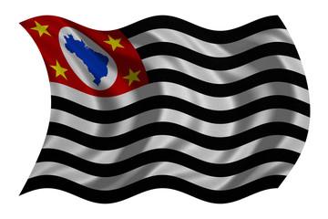 Sao Paulo, Brazil state, flag waving, textured