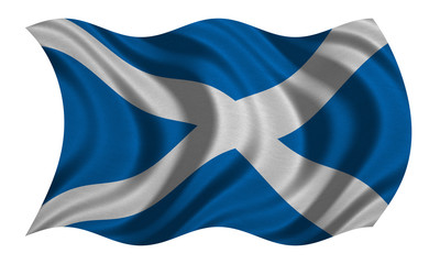 Flag of Scotland wavy on white, fabric texture