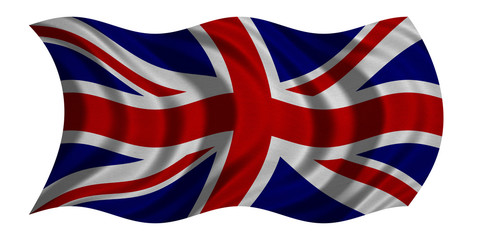 Flag of United Kingdom waving, fabric texture