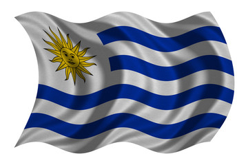 Flag of Uruguay wavy on white, fabric texture