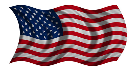Flag of USA waving on white, detail fabric texture