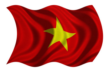 Flag of Vietnam wavy on white, fabric texture