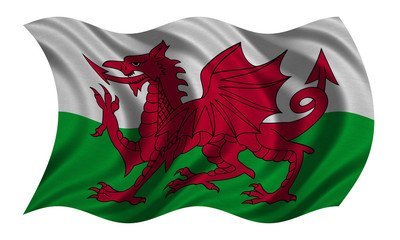 Flag of Wales wavy on white, fabric texture