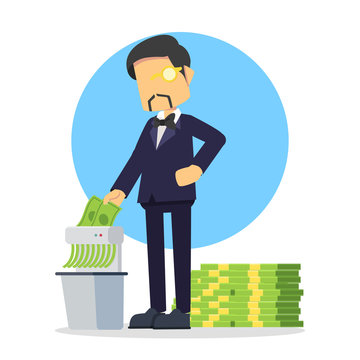 rich businessman shredding money