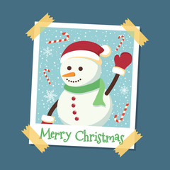 Snowman Christmas on instant photo frame greeting card vector illustration