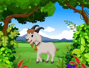 goat cartoon with landscape background