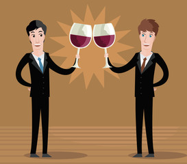 business men toasting with wine