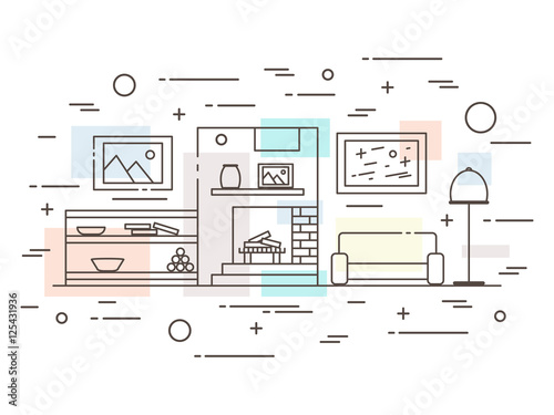 Linear Interior Design Illustration Of Modern Designer