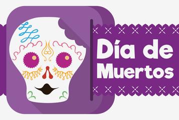 """Bitten Sugar Skull Celebrating """"Dia de Muertos"""" in Flat Style, Vector Illustration"""