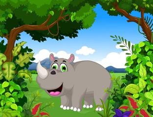 rhino cartoon with landscape background