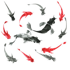 Sumi-e hand drawn fishes, black and white. Japan traditional sty