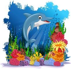 funny dolphin with sea life background