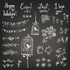 Doodle set of decoration: a bird in a cage, flowers, garlands, f