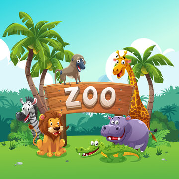 Zoo and animals cartoon style
